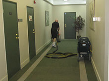 Steam cleaning and office hallway with latest technology.
